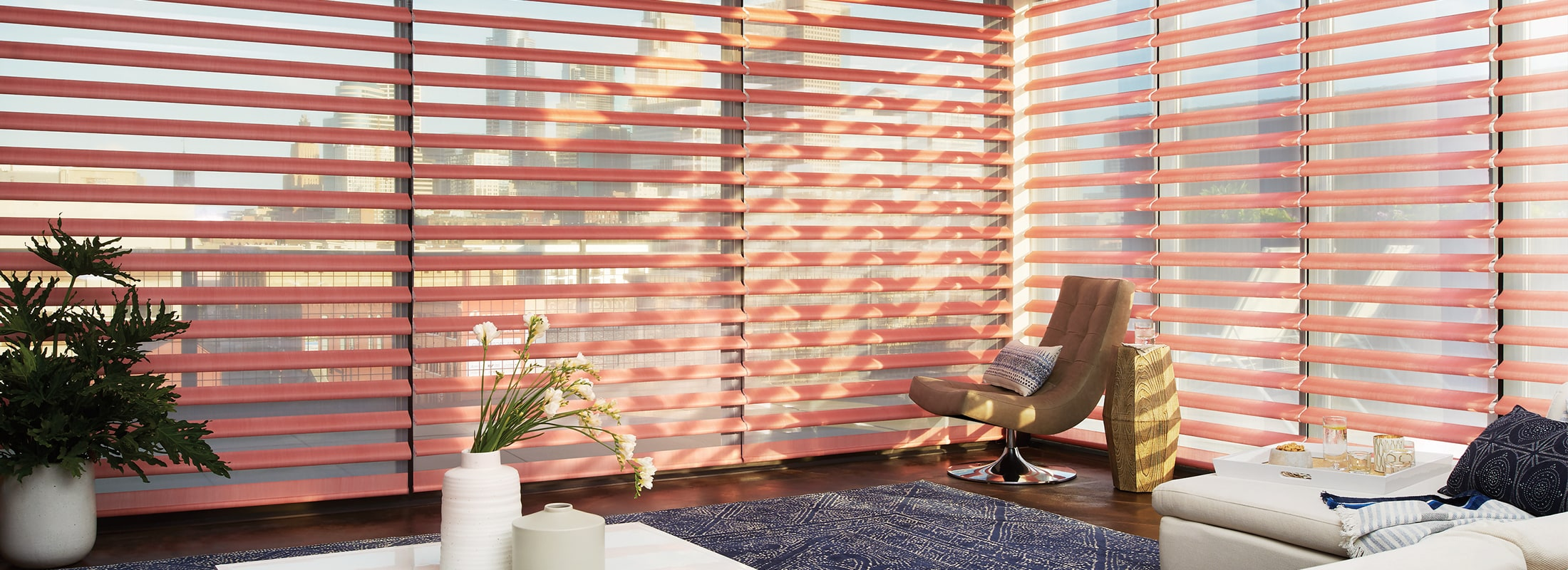 Window shadings in Satin Coral - Pirouette